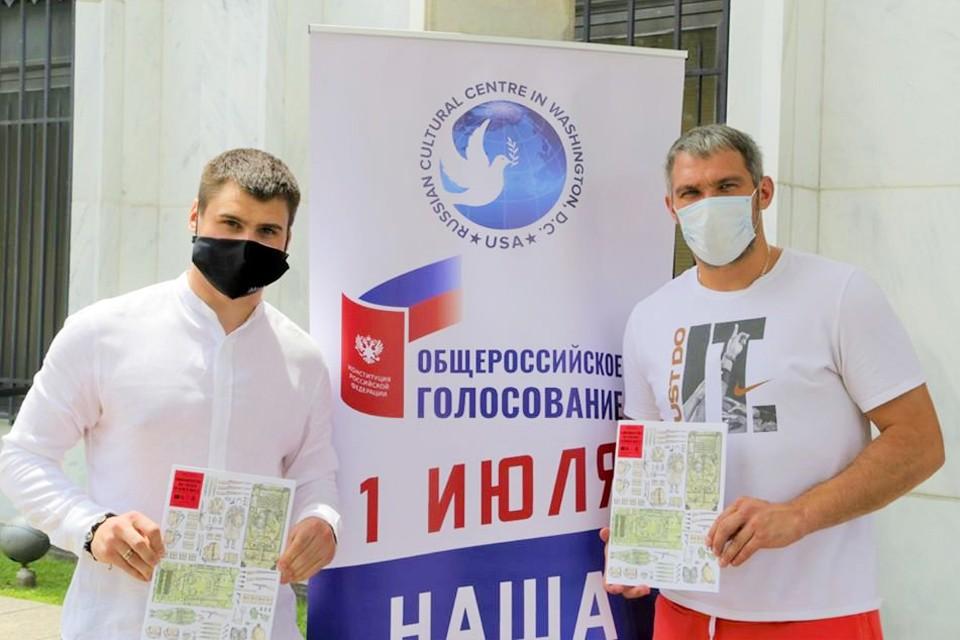 Российские хоккеисты Александр Овечкин и Дмитрий Орлов, выступающие за «Вашингтон»