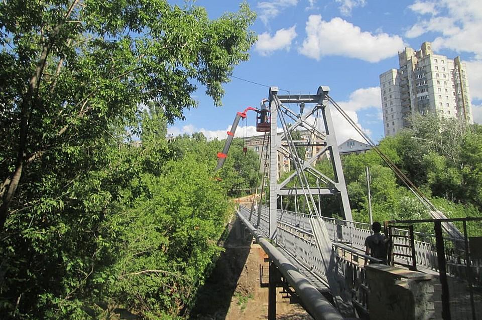 В Липецке ремонтируют вантовый мост