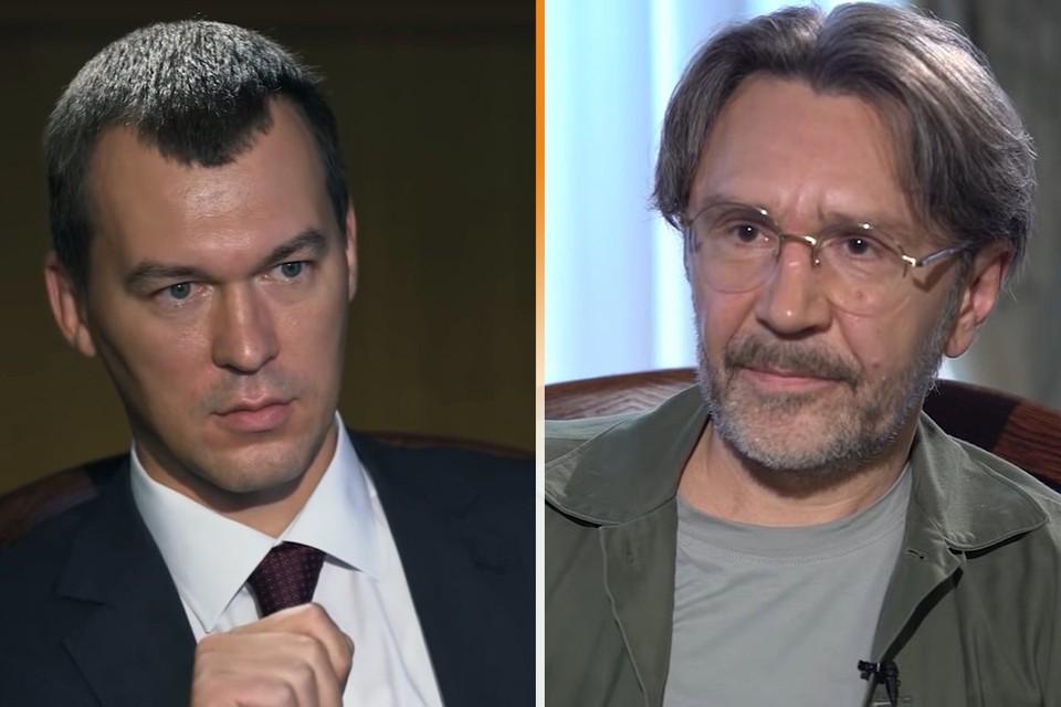 Во время интервью врио губернатора Хабаровского края Михаила Дегтярева Сергею Шнурову. Фото: RTVI/Youtube