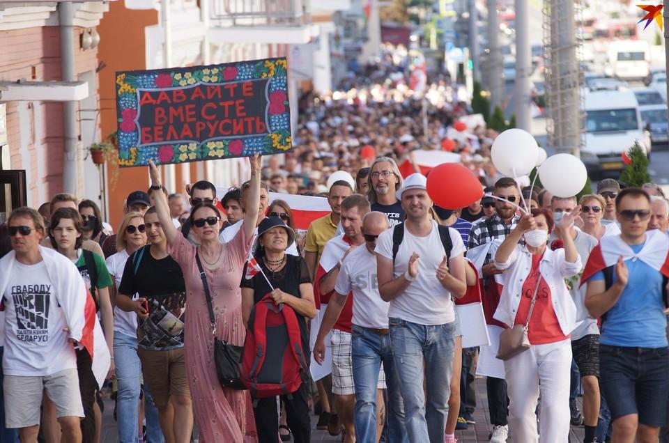 Массовое шествие прошло по центральным улицам Гомеля 30 августа