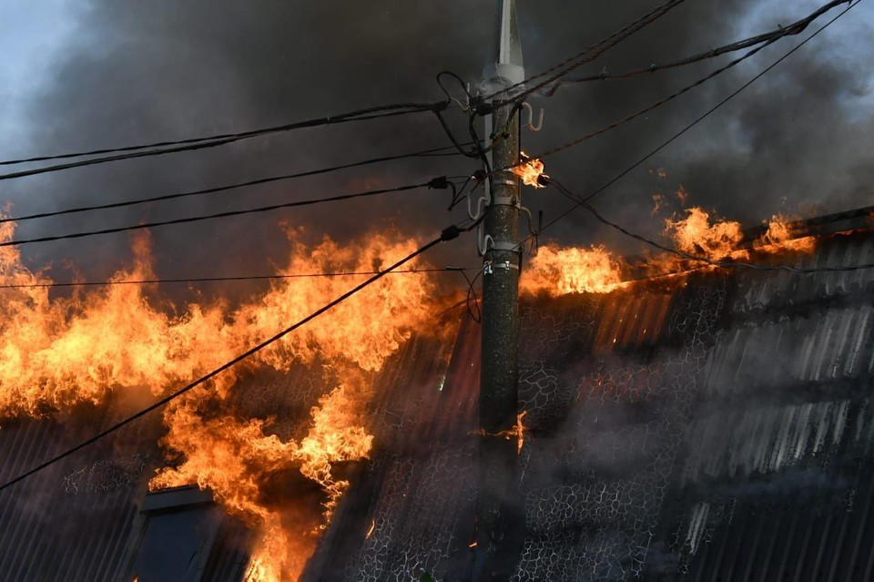 Пожар разгорелся в сауне