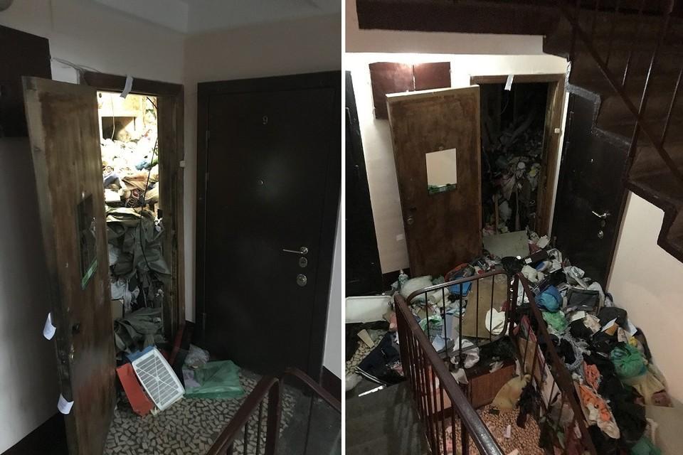 В Купчино нашли заваленную под потолок мусором квартиру. Фото: vk.com/kupchinonews / Владимир Юдин