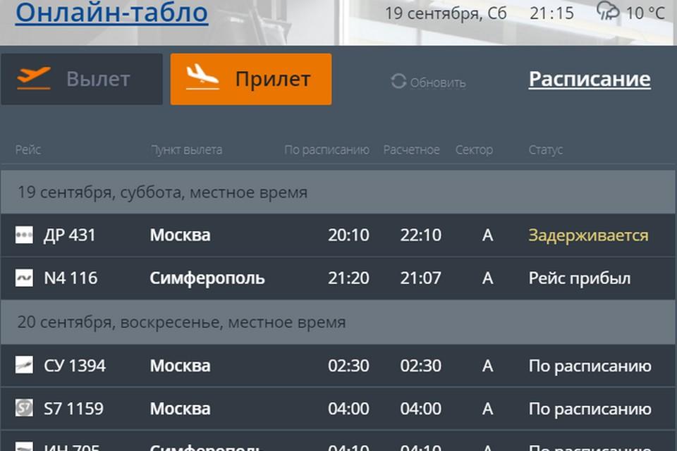 Он-лайн табло пермского аэропорта Большое Савино.