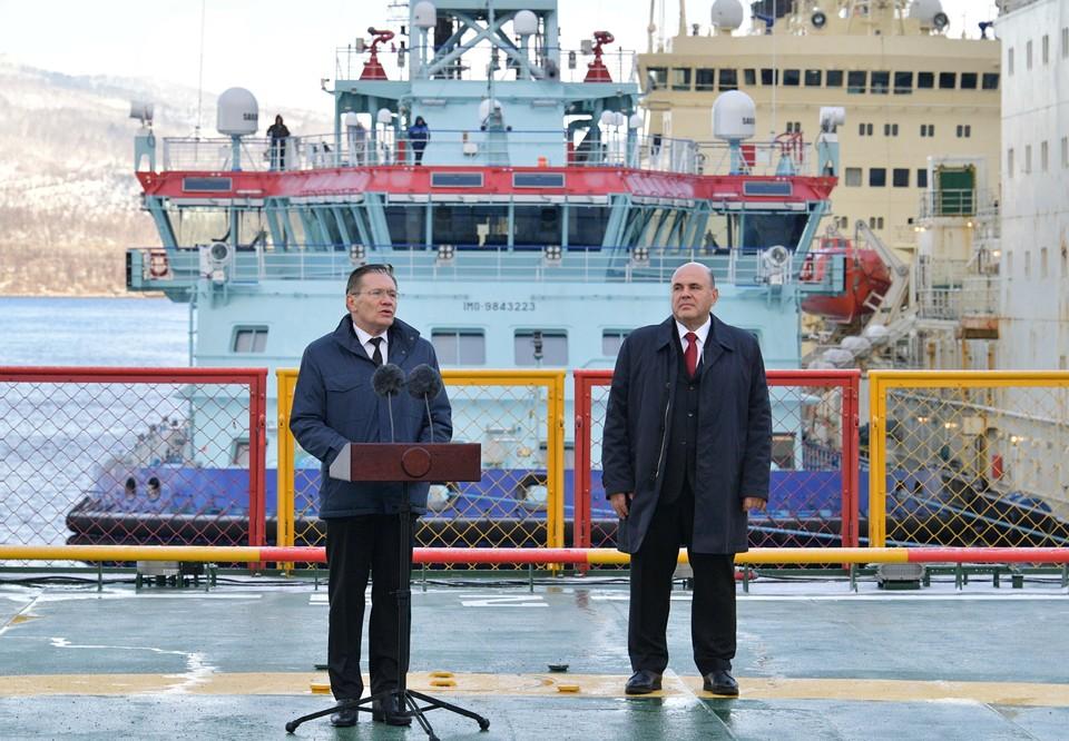 Премьер Михаил Мишустин принял участие в торжественной церемонии приемки атомного ледокола «Арктика».