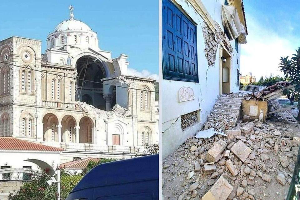 D городе Неон-Карловаси разрушился купол церкви Божьей Матери.