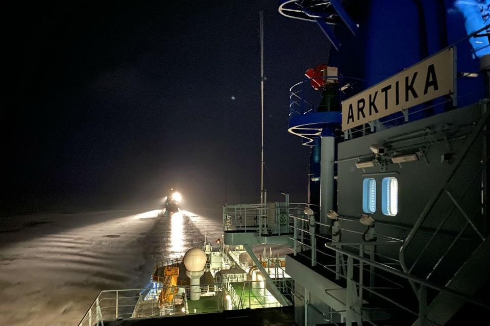 """Ледокол """"Арктика"""" выполняет первый рабочий рейс. Фото: пресс-служба """"Атомфлота"""""""