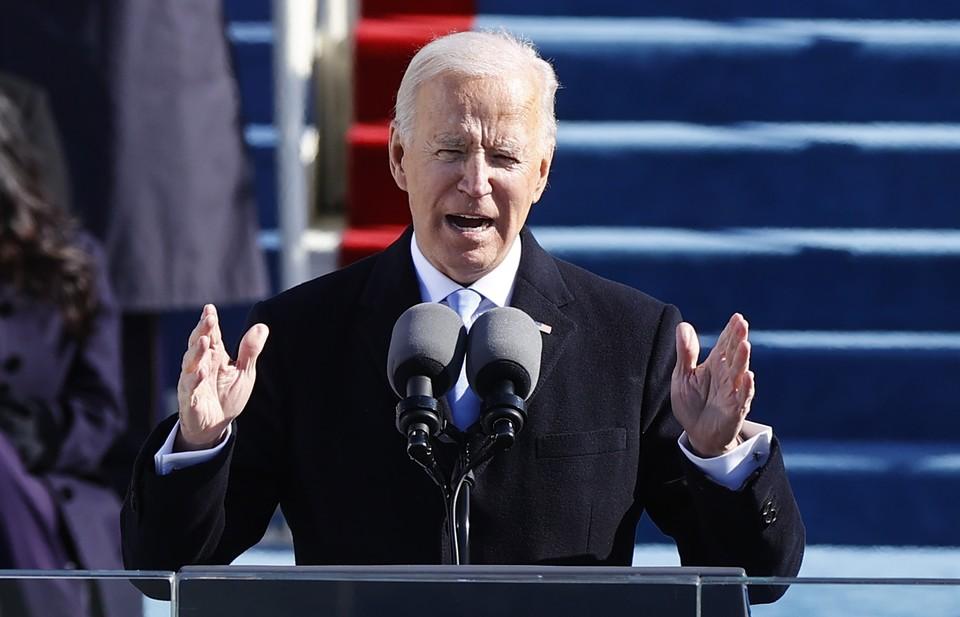 Джо Байден во время своей речи на церемонии инаугурации президента США.