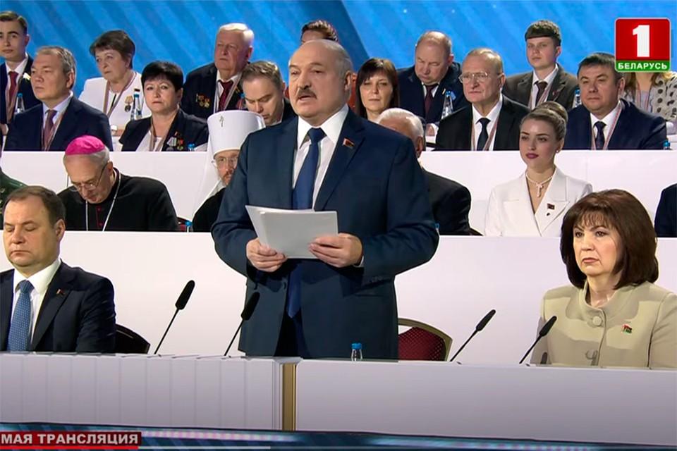 """Лукашенко: """"20 веков нас ставили на колени"""". Кадр телеканала """"Беларусь 1""""."""
