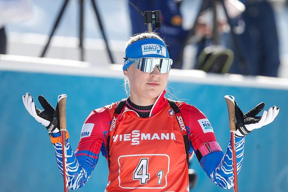 Российская биатлонистка Евгения Павлова на чемпионате мира по биатлону в Словении.
