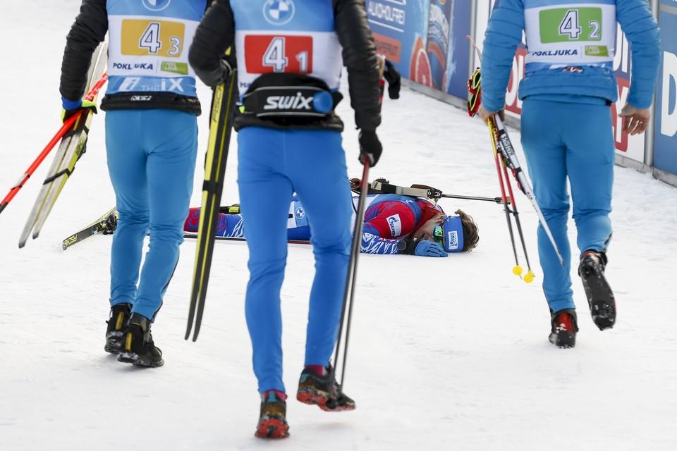 Эдуард Латыпов после финиша эстафеты.