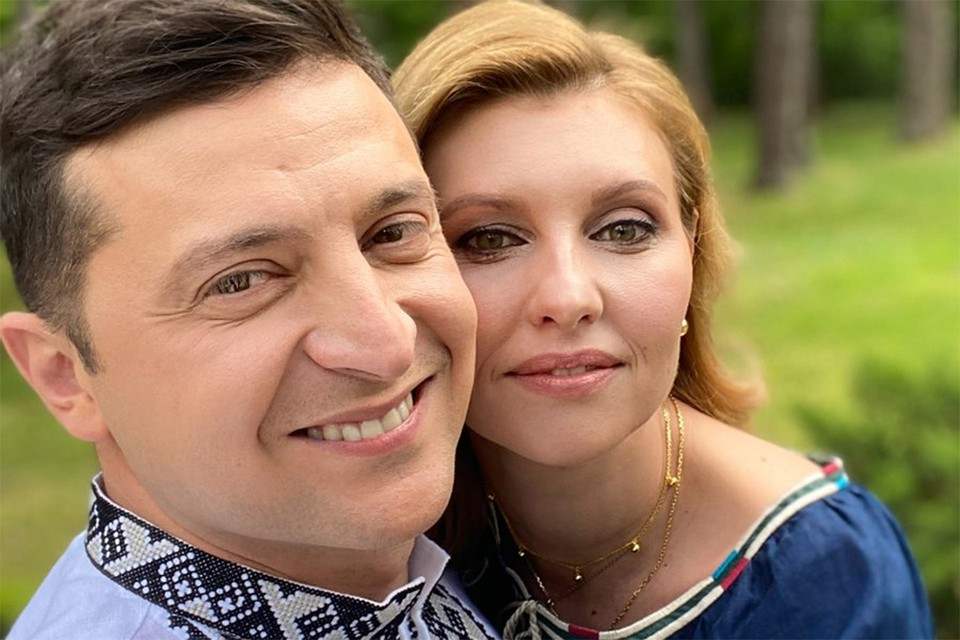 Владимир Зеленский с женой Еленой.