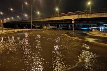 """Охота по-новому: Автомобили тонут под """"Мостом глупости"""" в Петербурге из-за оттепели"""
