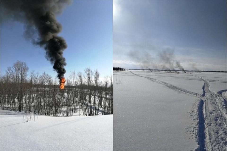 Слева - дожиг на амбаре, справа - Обь. Фото: телеграм-канал Андрея Виля