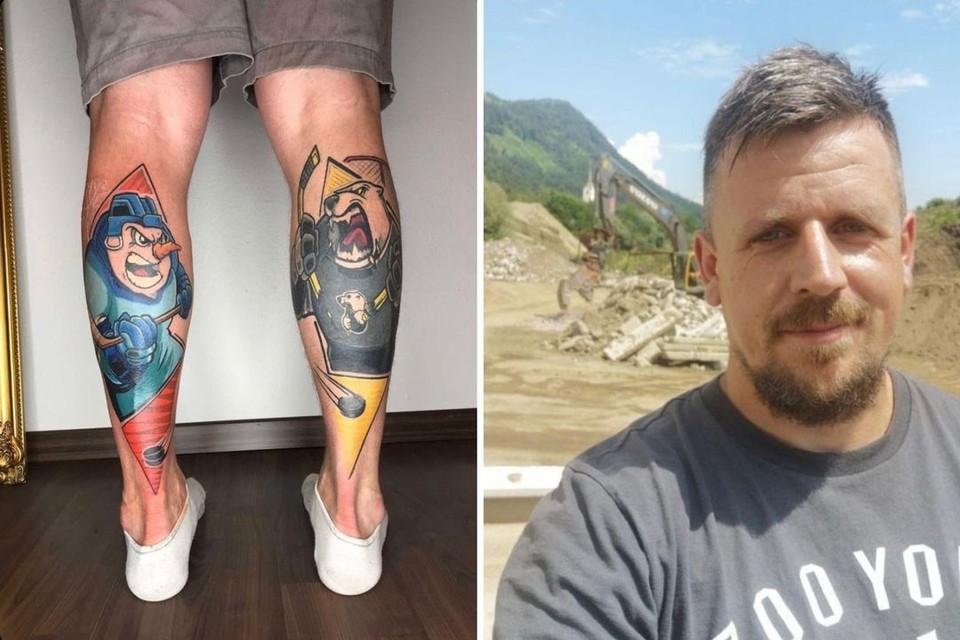 Хоккейный болельщик из Австрии похвалился новыми тату. Фото: vk.com/hcsibir1962.