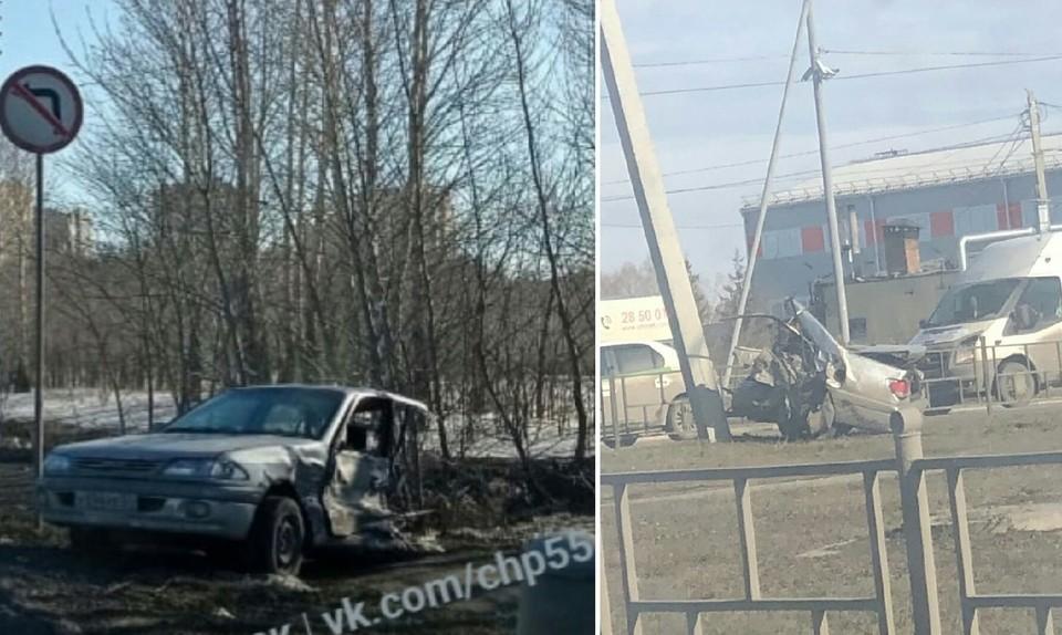 После аварии машину разорвало пополам. Фото: «ЧП Омск»