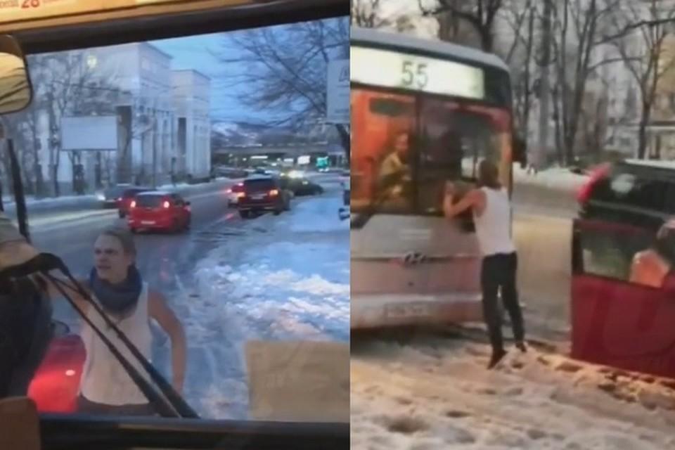 Конфликт между водителем иномарки и шофером автобуса произошел в ноябре 2019 года. Фото: скришот видео соцсетей