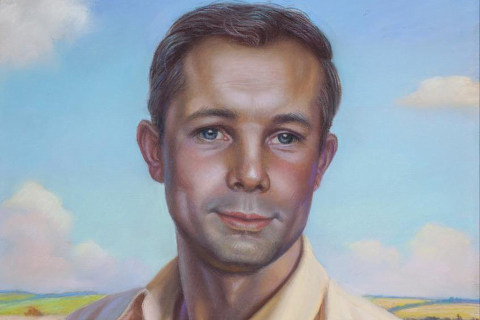 Портрет Юрия Гагарина работы Александра Шилова, фрагмент.