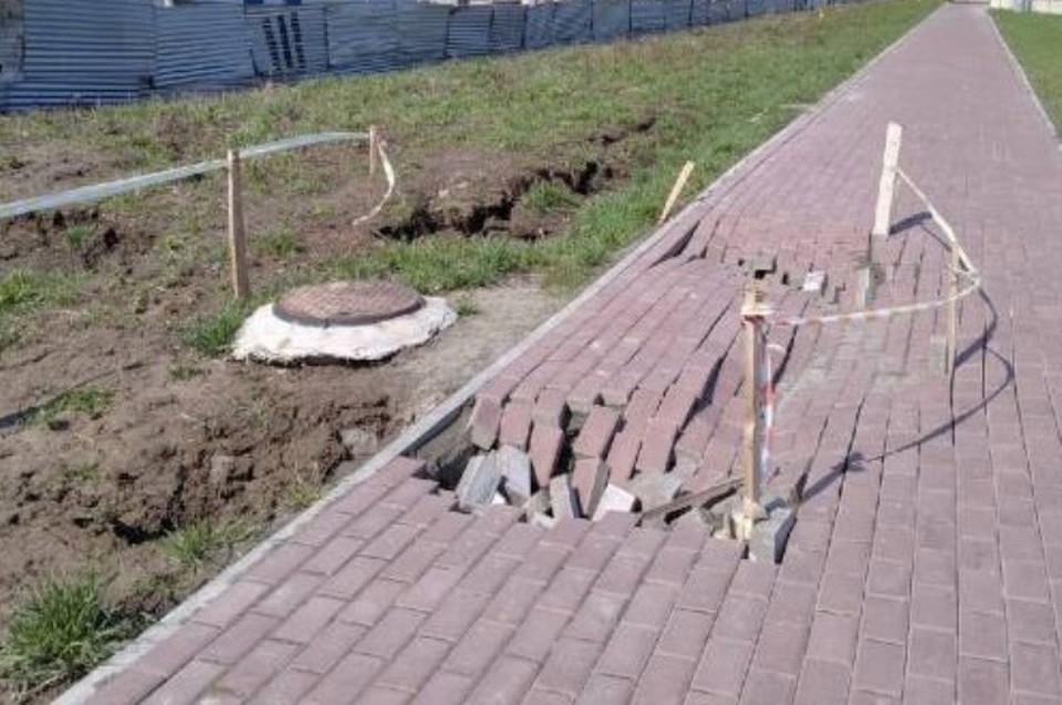 В Брянске на улице Советской разрушившийся тротуар восстановят за счет подрядчиков.