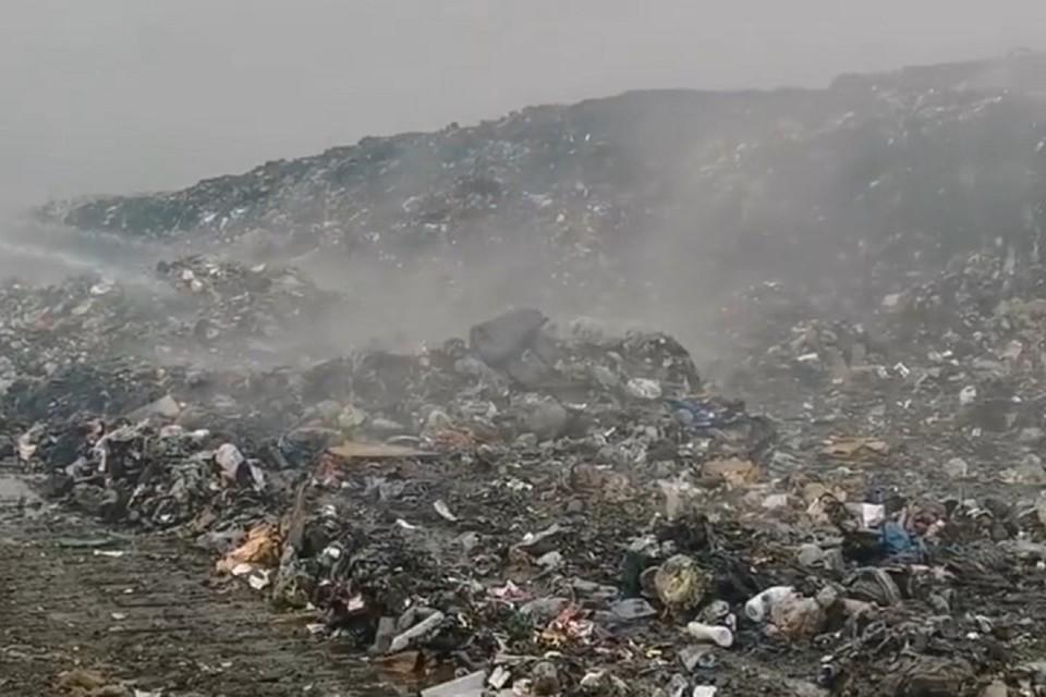 Третьи сутки бушует пожар на мусорной свалке в Биробиджане