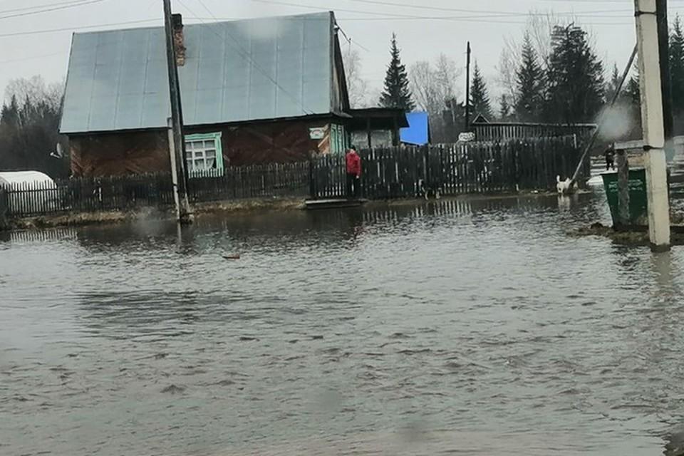 В Красноярском крае река вышла из берегов и топит дома. Фото: МВД