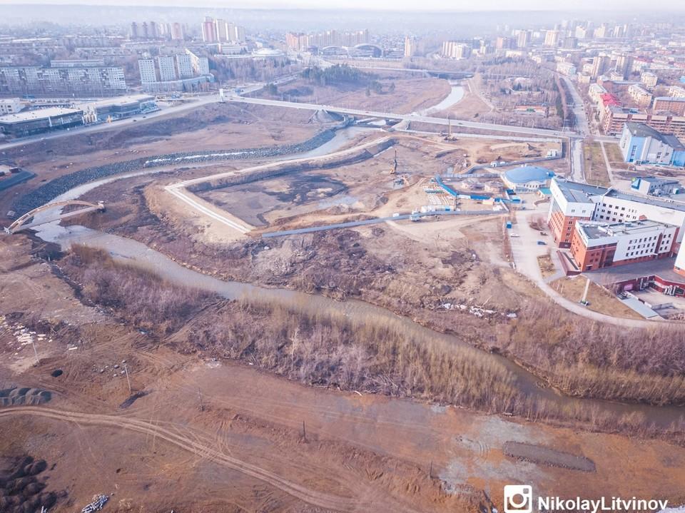 В Кемерове показали строительство новой набережной. Фото: Николай Литвинов/ ВКонтакте.