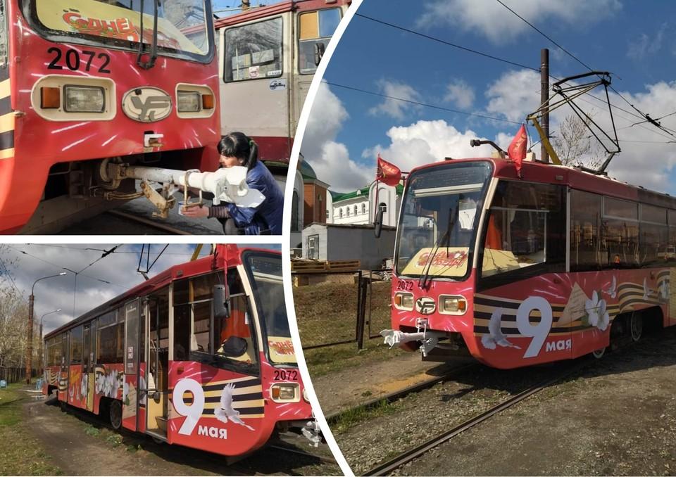 5 мая праздничный вагон снова выйдет на улицы Челябинска. Фото: Трамвай Победы / Vk.com