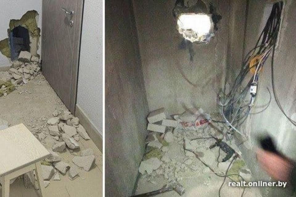В «Минск-Мире» мужчина кувалдой разнес стены сразу в нескольких квартирахэ. Фото: onliber.by