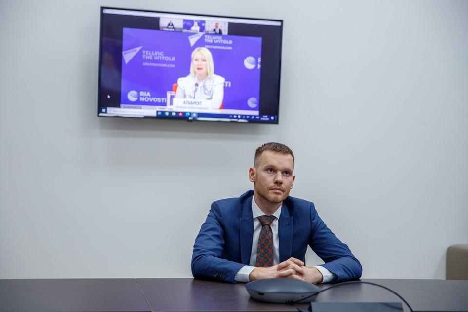 Руслан Барышев на онлайн-пресс-конференции по запуску стипендиальной программы. Фото предоставлено компанией