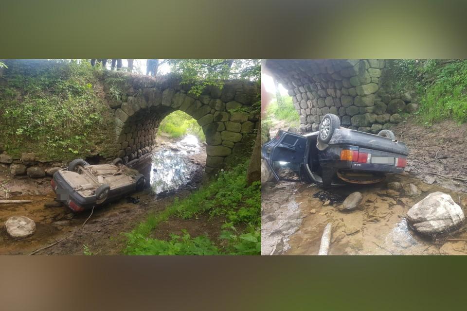 Непристёгнутый водитель упал с моста и погиб в Тверской области. Фото: пресс-служба ГИБДД по Тверской области.