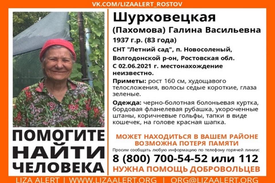 Пожилая женщина ушла в неизвестном направлении 2 июня Фото: группа в VK отряда «ЛизаАлерт Юг»
