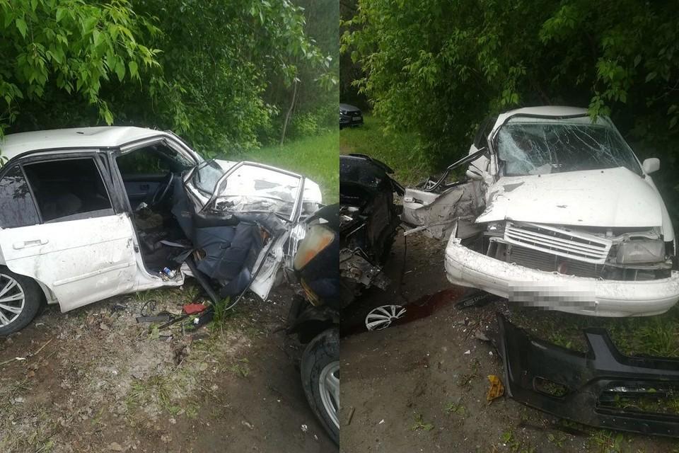 Водителя зажало в салоне при столкновении двух иномарок под Новосибирском. Фото: ГУ МЧС по НСО.