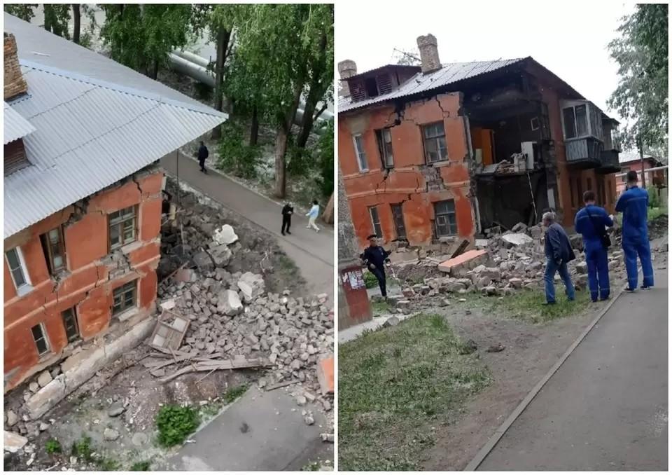 Дом начал постепенно рушиться еще в мае. Фото: Анюточка Артемьева/Подслушано Ленинский район/vk.com