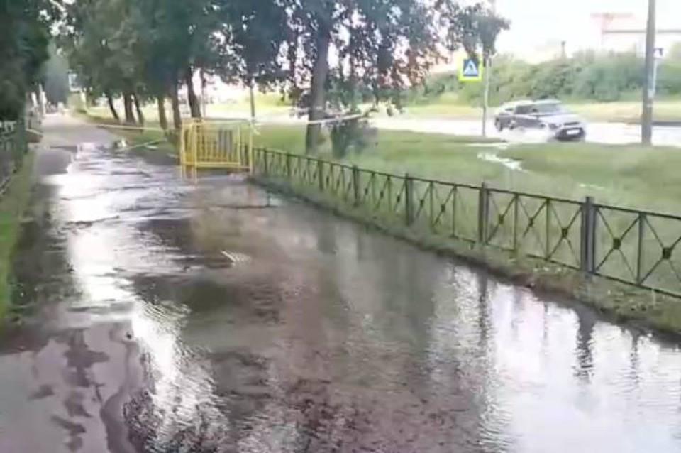 Проспект Передовиков в Петербурге затопило из-за прорыва трубы