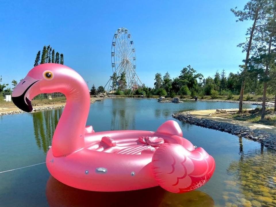 На надувном фламинго одновременно смогут плавать четыре человека. Фото: Администрация ЦПКиО.