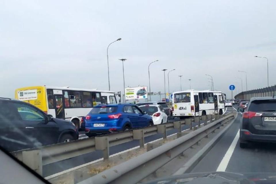 Петербургские автомобилисты пожаловались на жесткую пробку на Витебском проспекте