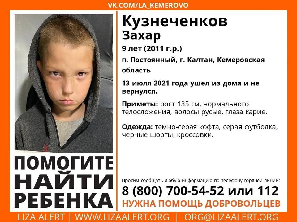 В Кузбассе пропал без вести девятилетний мальчик. Фото: Поисковый отряд «Лиза Алерт» Кузбасс.