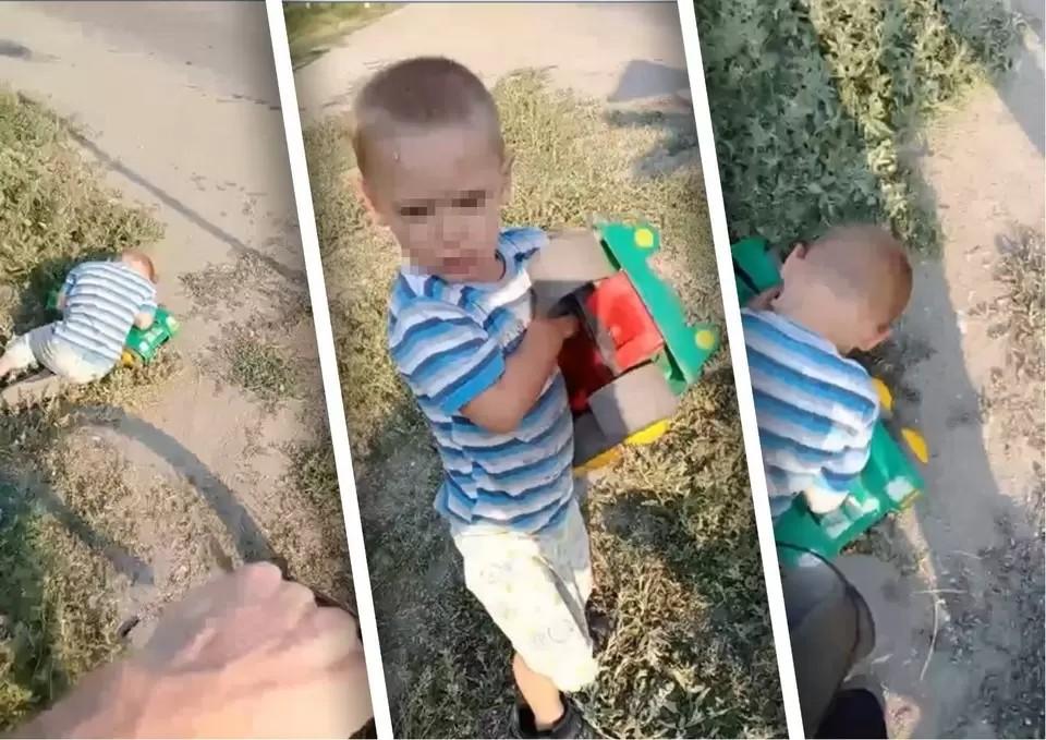 Мальчика обнаружил на дороге местный житель. Фото: скриншот видео из сообщества «Типичный Челябинск».