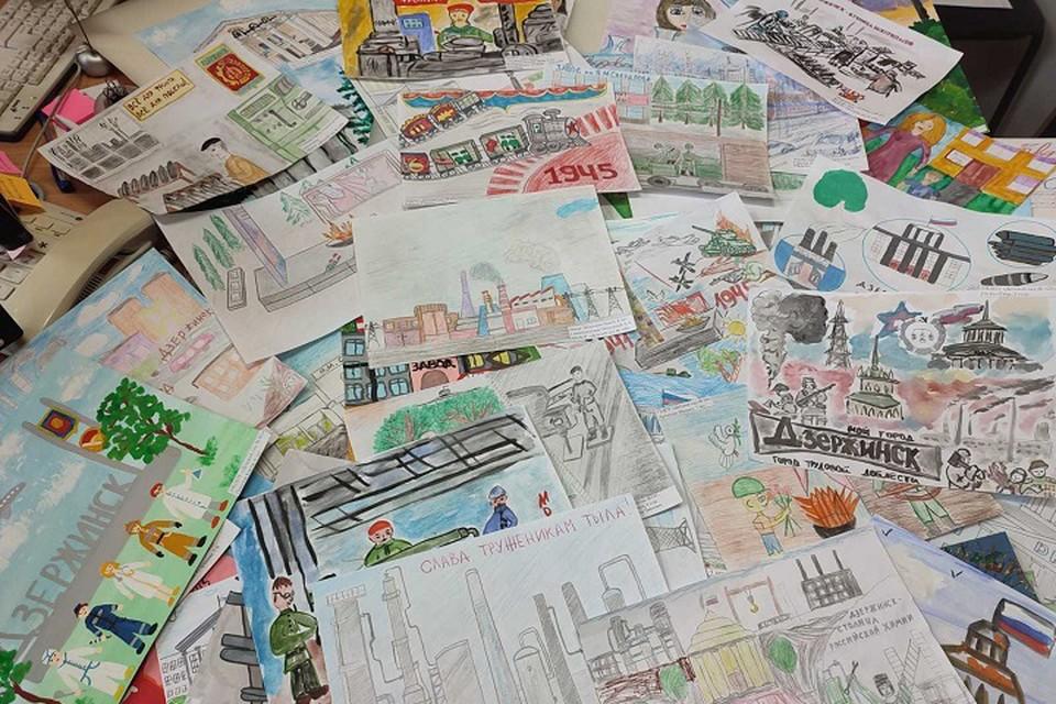 Почти сотня детских рисунков представлена на конкурс в поддержку голосования за присвоение Дзержинску звания «Город трудовой доблести»