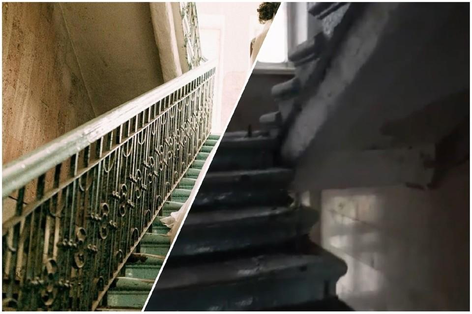 Неизвестные спилили перила с главной лестницы бывшего здания музея. Фото: омское отделение ВООПИиК