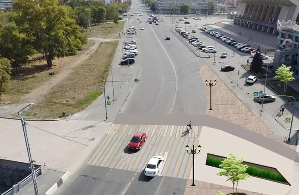 Пешеходный переход станет частью временной схемы движения.