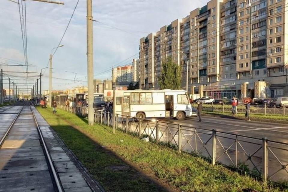 Маршрутка перекрыла проезд по проспекту Косыгина в сторону КАД