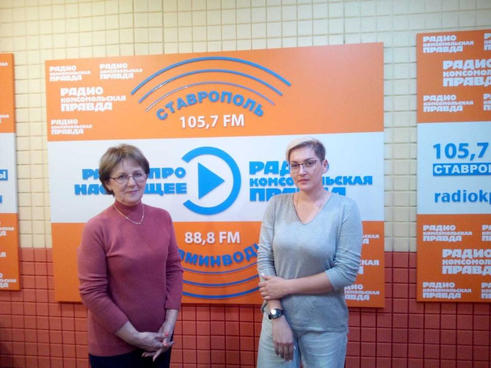 """Наталья Быкова и Юлия Федорова в студии Радио """"КП""""."""