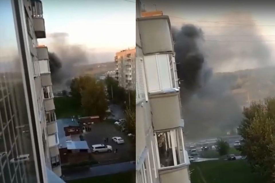 В Новосибирске, вечером 10 сентября, случился пожар. Фото: Кадр из видео