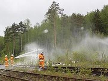 На войну с огнем в Екатеринбурге вышли пожарные поезда