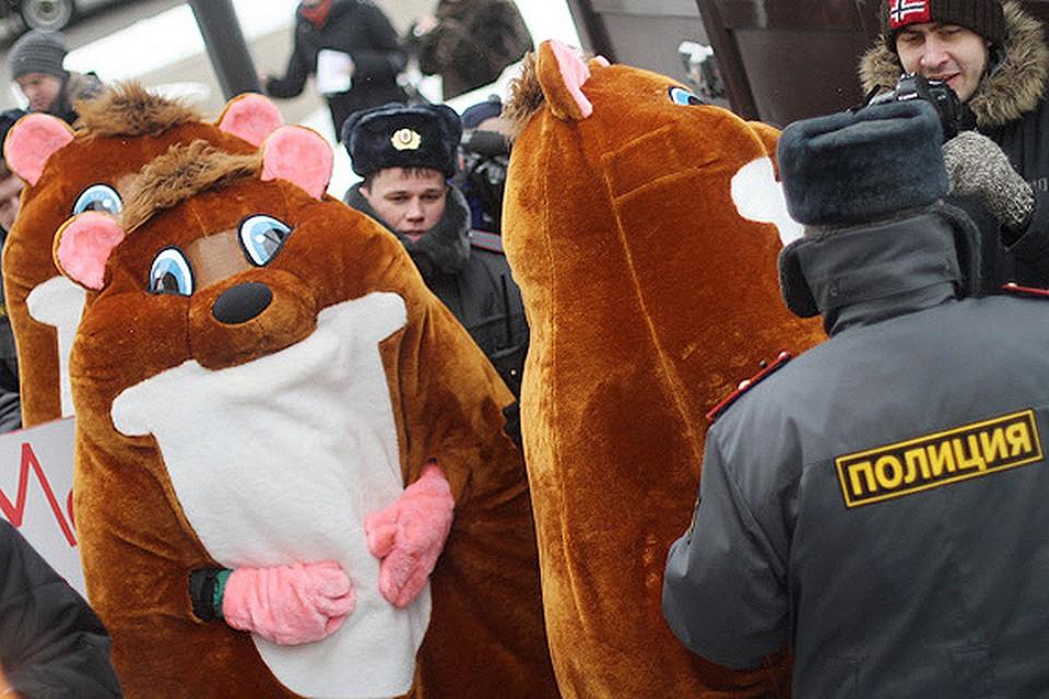 Полиция задержала трех человек в костюме хомячков