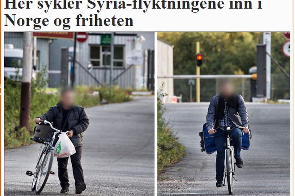 Норвежским корреспондентам удалось заснять беженцев на велосипедах. Фото: MATTIS SANDВLAD.