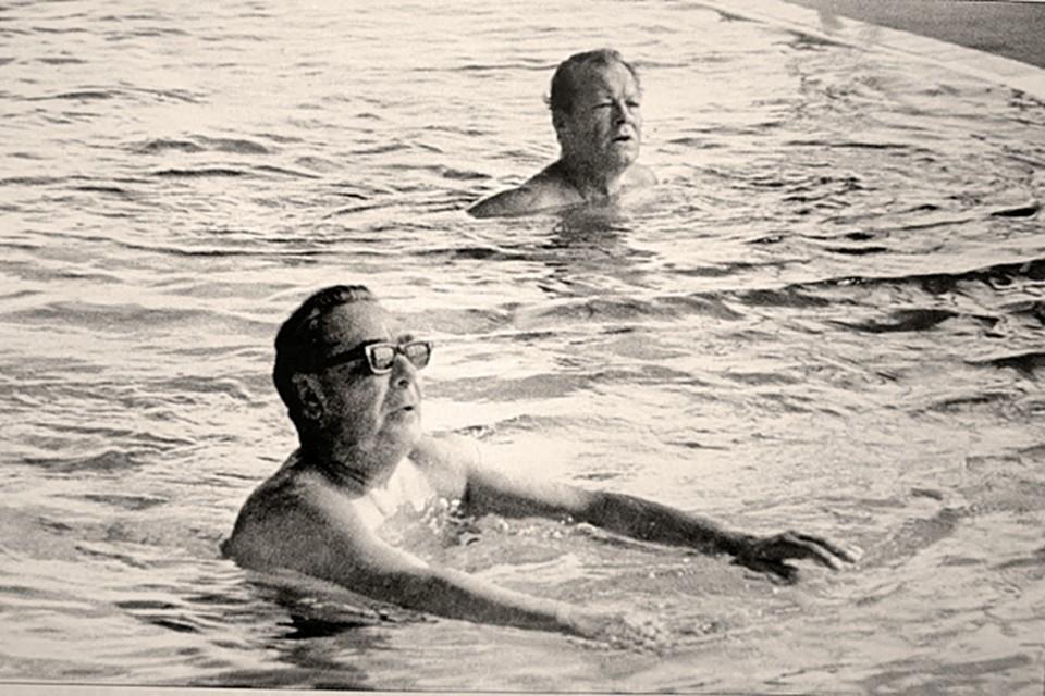 Леонид Брежнев и канцлер ФРГ Вилли Брандт в бассейне в Крыму. Леонид Ильич одолжил немецкому политику свои запасные плавки.