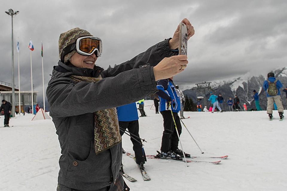 В свободное же от съемок время 44-летняя Гришаева с удовольствием надевала лыжное оборудование