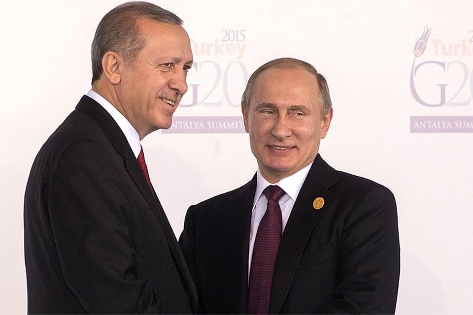 Встреча Владимира Путина и Реджепа Эрдогана в ноябре 2015 года на саммите G20 в Анталии.