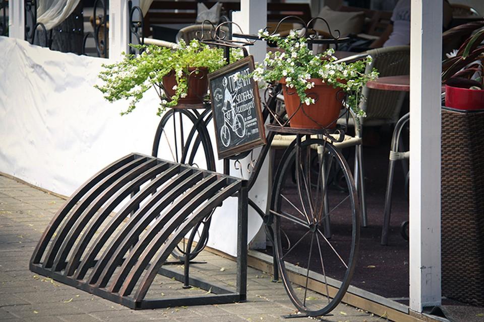 Рядом с летней верандой кофейни «Гаврош» установили велопарковку, которую украшает велосипед-клумба.
